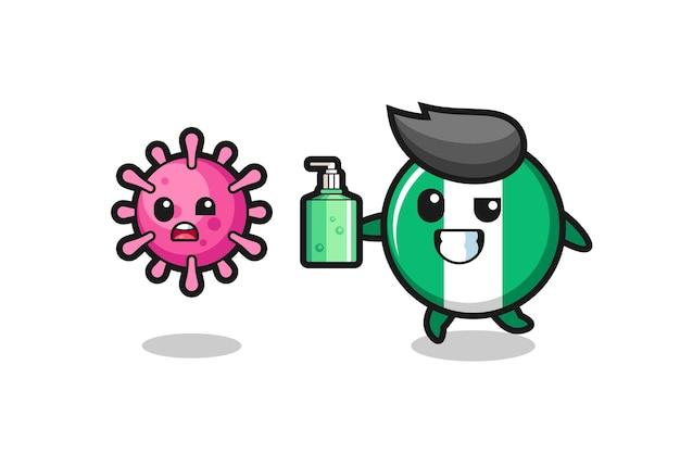 Illustrazione del carattere distintivo della bandiera della nigeria che insegue virus malvagio con disinfettante per le mani, design in stile carino per t-shirt, adesivo, elemento logo