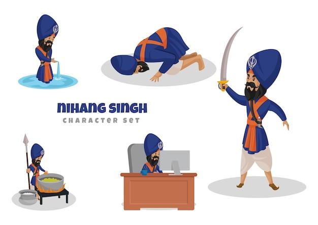 Illustrazione del set di caratteri nihang