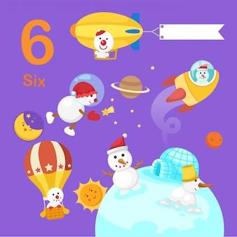 Illustrazione del numero sei