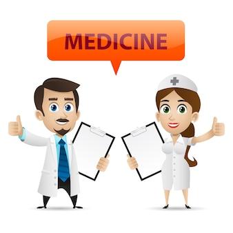 Illustrazione, infermiere e medico che mostrano pollice in su, formato eps 10