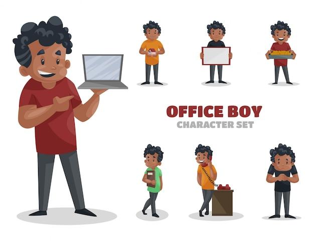 Illustrazione del set di caratteri office boy