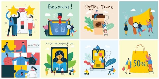 Illustrazione della gente di affari di concetto di ufficio in stile piatto moderno. e-commerce e concetto di business del lavoro di squadra