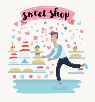L & # 39; illustrazione dell & # 39; uomo felice del fumetto in pasticceria vuole prendere la pace di torte e cupcakes