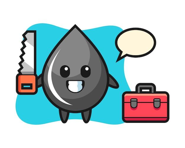 Illustrazione del carattere di goccia di olio come falegname