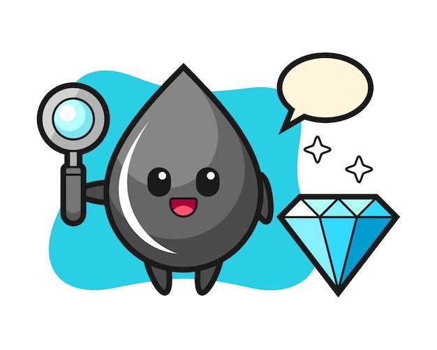 Illustrazione del carattere di goccia di olio con un diamante