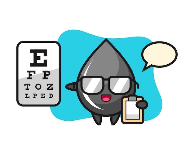 Illustrazione della mascotte di goccia di olio come oftalmologia