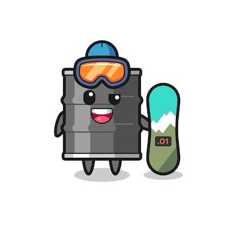 Illustrazione del personaggio del tamburo dell'olio con stile snowboard, design carino