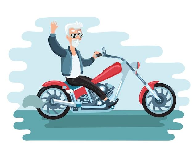 Illustrazione del vecchio motociclista cartone animato giro in moto