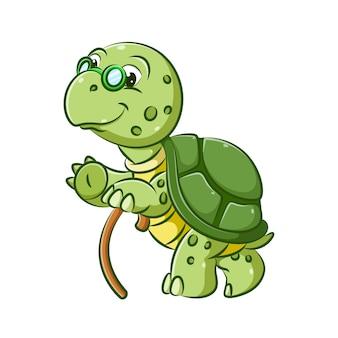 L'illustrazione del vecchio nonno della tartaruga sta camminando con il bastone marrone per fare un passo