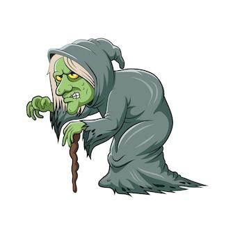 L'illustrazione del vecchio strigo con la pelle verde e usando mantello e bastone di legno