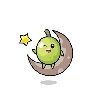 Illustrazione del cartone animato oliva seduto sulla mezza luna, design in stile carino per maglietta, adesivo, elemento logo
