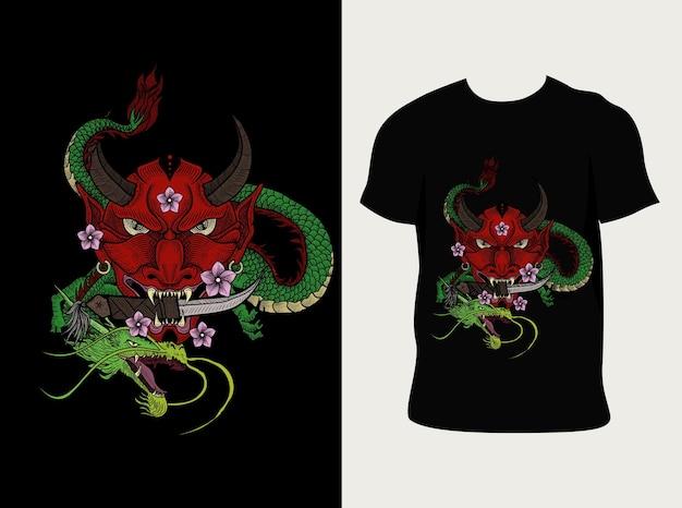 Drago maschera di illustrazione oni con design t-shirt