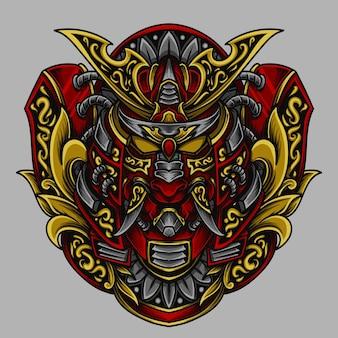 Illustrazione dell'ornamento dell'incisione della testa del samurai della maschera di oni per la maglietta