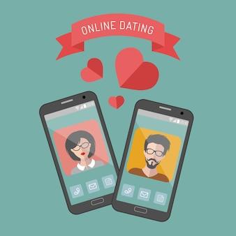Illustrazione delle icone di app uomo e donna di incontri online in stile piatto.