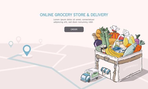 Illustrazione del negozio di alimentari online. concetto di servizio di consegna. banner di design piatto del fumetto.