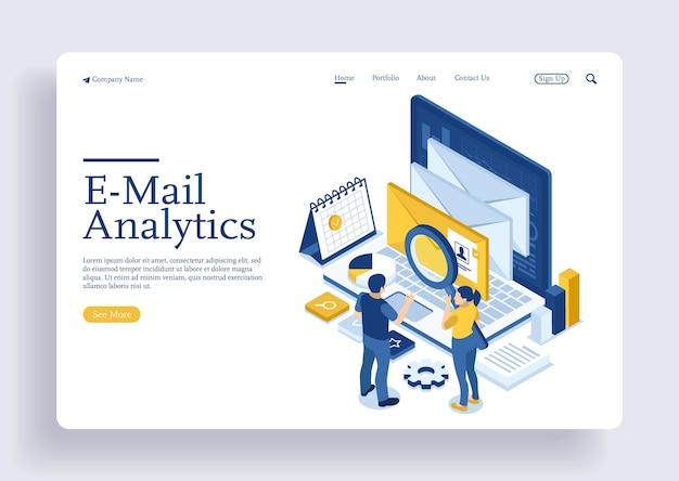 Illustrazione del marketing online tramite e-mail servizi di supporto online con il concetto di isometrico