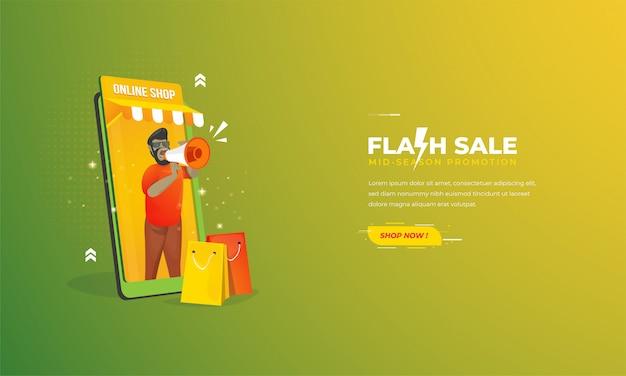 Illustrazione per la promozione del negozio online con il concetto di vendita flash sul modello di banner