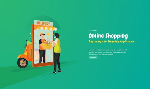 Illustrazione dell'applicazione per lo shopping online e il servizio di consegna