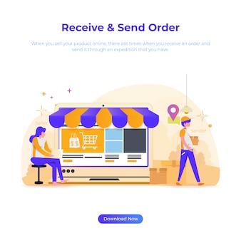 Illustrazione di un negozio online per venditori e mittente