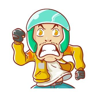 Illustrazione online taxi casco spirito passione fuoco drammatico disegnati a mano in stile cartone animato da colorare