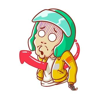 Illustrazione in linea taxi jleb frecce spaventato casco disegnato a mano in stile cartone animato da colorare
