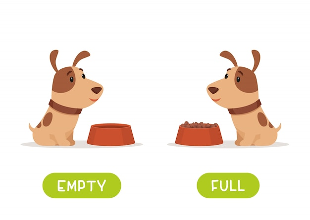 Illustrazione degli opposti pieni e vuoti. il cucciolo è seduto con una ciotola piena e vuota