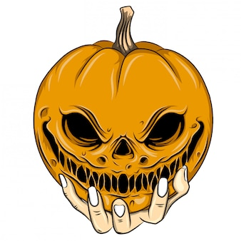 Illustrazione di spaventapasseri testa arancione con un grande sorriso