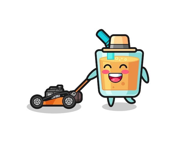 Illustrazione del personaggio del succo d'arancia con tosaerba, design in stile carino per maglietta, adesivo, elemento logo