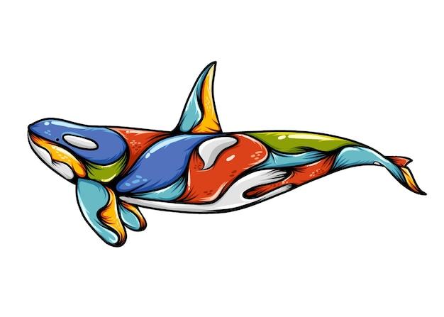 L'illustrazione dello zentangle balena orca con un corpo colorato e una coda blu
