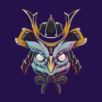 Illustrazione del gufo samurai