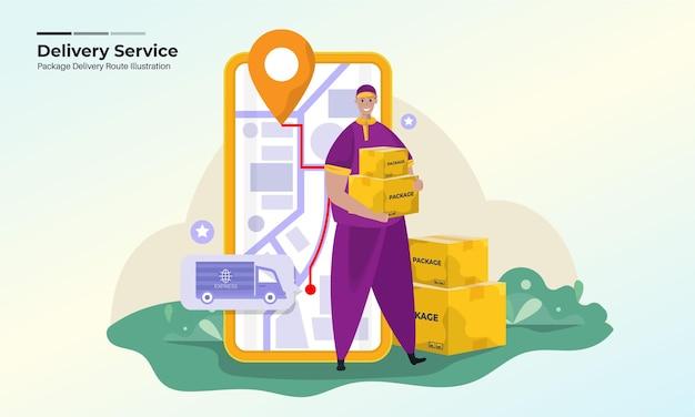 Illustrazione del servizio di consegna pacchi con un percorso online verso il concetto di destinazione