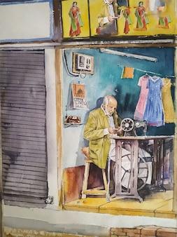 Illustrazione dipinta di blu casa, disegnata a mano colorata
