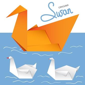 Illustrazione di un paio di cigni di carta origami