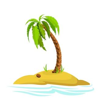 Illustrazione di una palma su un'isola palma decorativa isolata su sfondo biancom