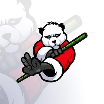 Illustrazione del panda che tiene il bambù per il gioco di esport del logo della mascotte