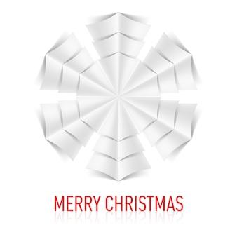 Illustrazione del fiocco di neve di carta su sfondo bianco. biglietto natalizio.