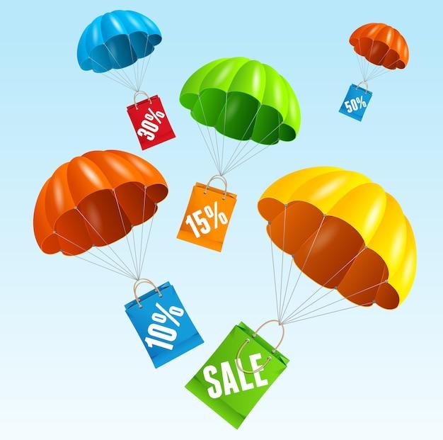 Illustrazione paracadute con vendita di sacchetto di carta nel cielo. il concetto di saldi stagionali.