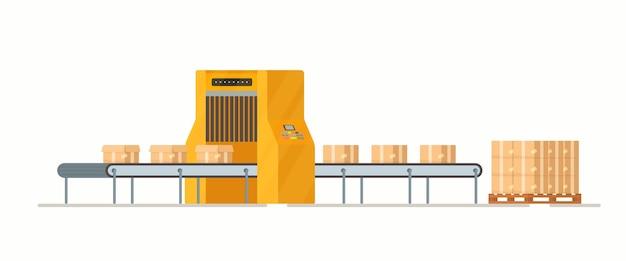 Illustrazione dell'imballaggio del pacco che si prepara a inviare alla revisione dell'ufficio postale