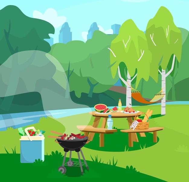 Illustrazione della scena del parco in città con tavolo con cibo e barbecue. stile cartone animato.