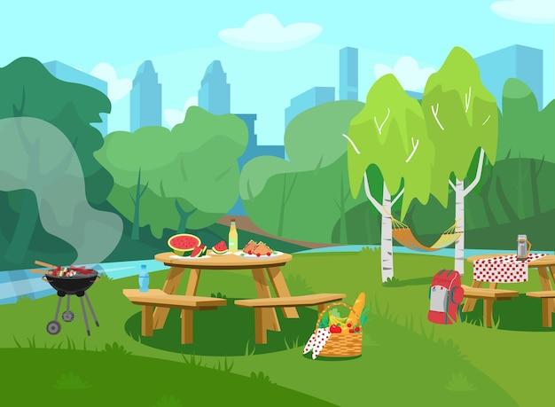 Illustrazione della scena del parco in città con tavoli con cibo e barbecue. stile cartone animato.