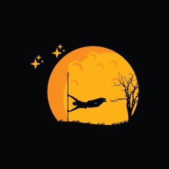 Illustrazione del logo design parkour, silhouette giocatore parkour
