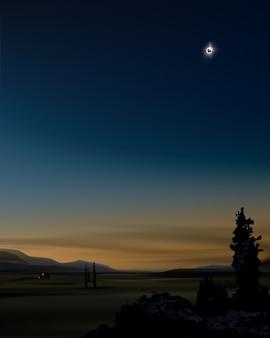 Illustrazione dell'eclissi solare parziale nel cielo al tramonto sullo sfondo del paesaggio