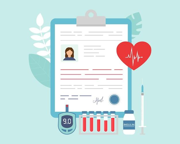Illustrazione di oggetti medici correlati al paziente in stile piatto del fumetto.