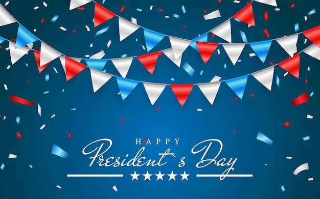 Illustrazione sfondo patriottico con bunting flags per happy presidents day e coriandoli di stagnola., colori degli stati uniti.