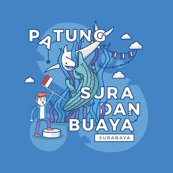 Illustrazione di patung surabaya, pietra miliare dell'indonesia