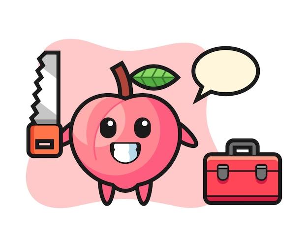 Illustrazione del personaggio di pesca come falegname, design in stile carino per t-shirt