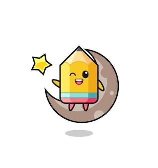 Illustrazione di cartone animato a matita seduto sulla mezza luna, design in stile carino per maglietta, adesivo, elemento logo