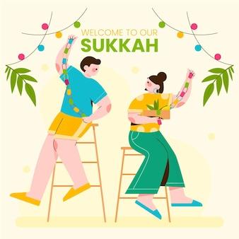 Illustrazione di persone che celebrano sukkot