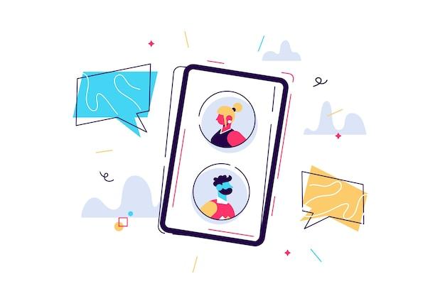Illustrazione di persone in chat sullo smartphone