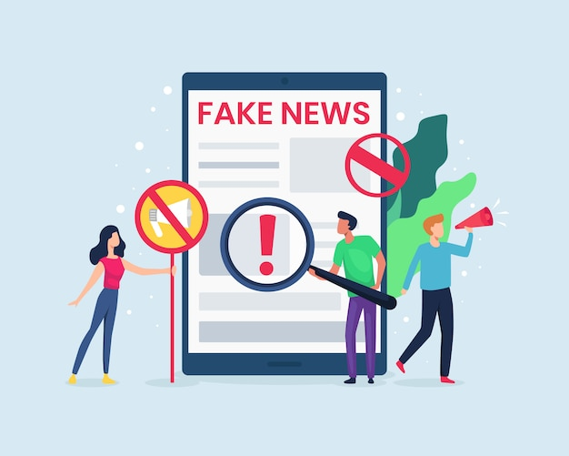 Illustrazione le persone controllano le notizie su internet